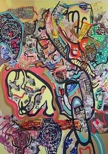"Danielle Cartier, Always Maintained, 2017, Collage, acrylic paint, silkscreen on canvas, 84"" x 60"""