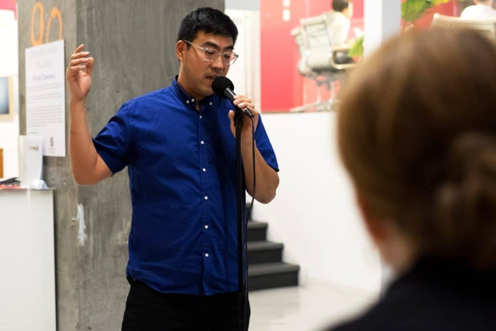 Frank Ruy telling a story at The Yard