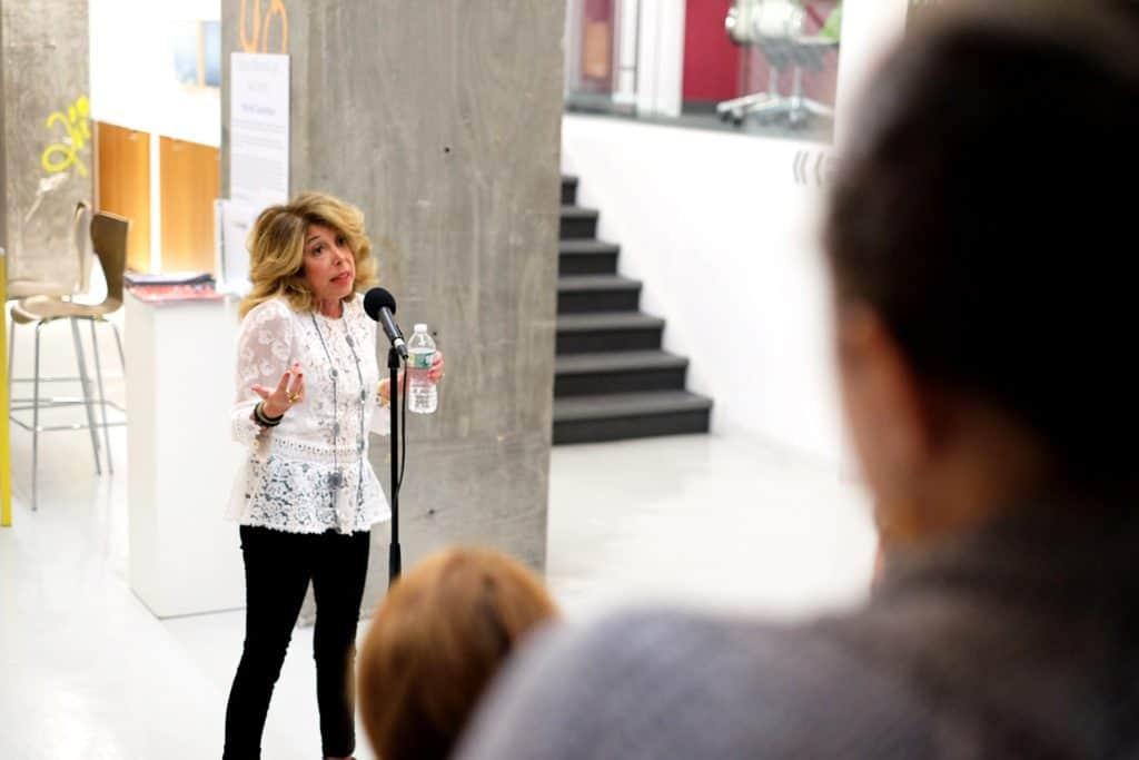 Sandi Marx telling a story at The Yard