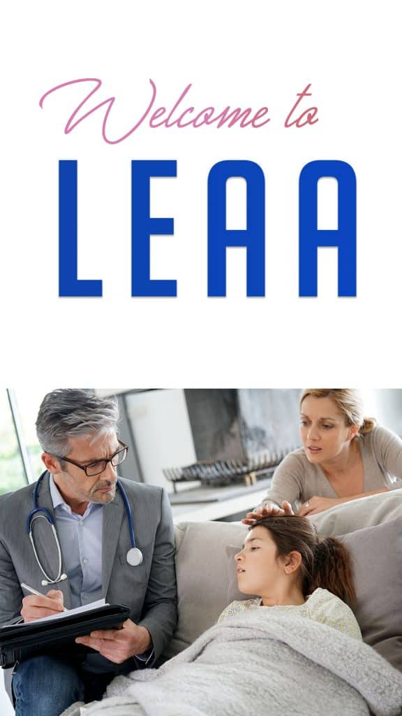 Leaa logo and doctors