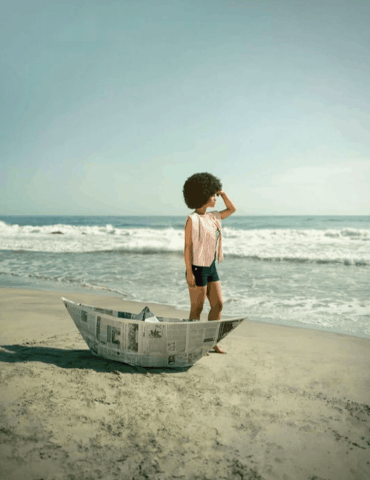 Artwork of a girl on beach by Belinda Téllez