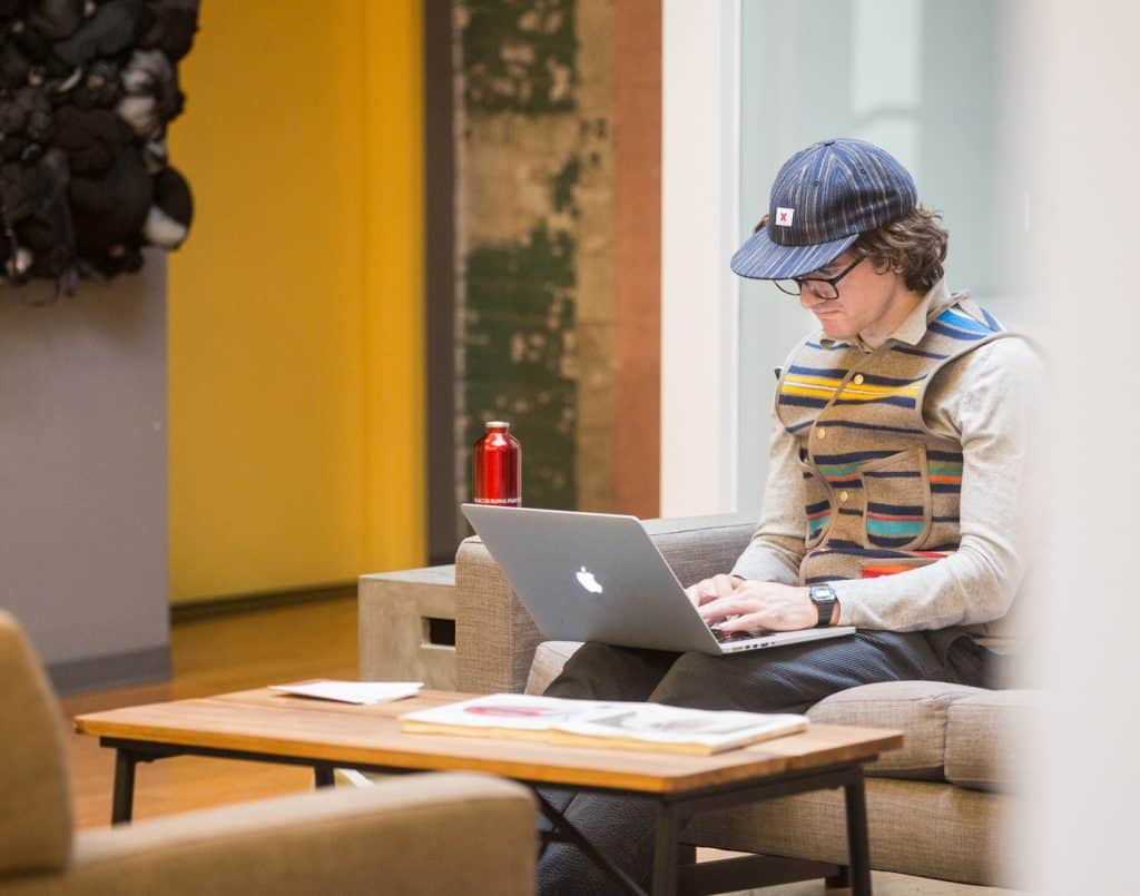 freelancer working in a lounge