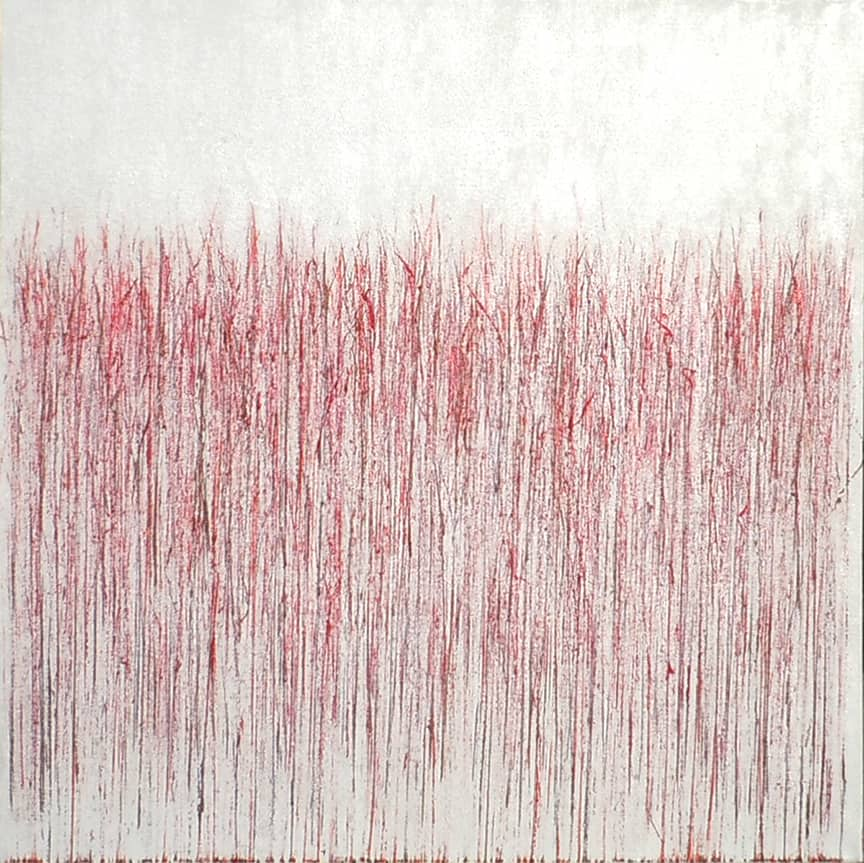Red on Bright White, art by Mary D. Ott