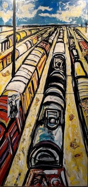 Artwork: Vertical Train Yard by Marta Sanchez